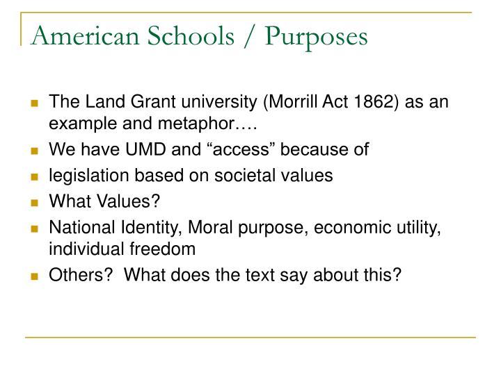 American Schools / Purposes