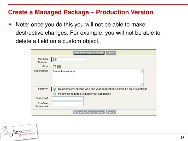 Create a Managed Package – Production Version