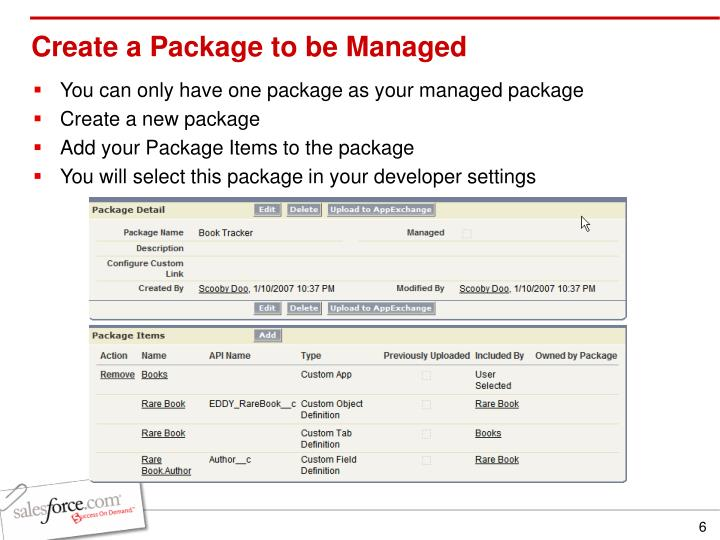 Create a Package to be Managed