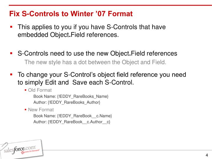 Fix S-Controls to Winter '07 Format