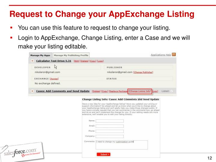 Request to Change your AppExchange Listing