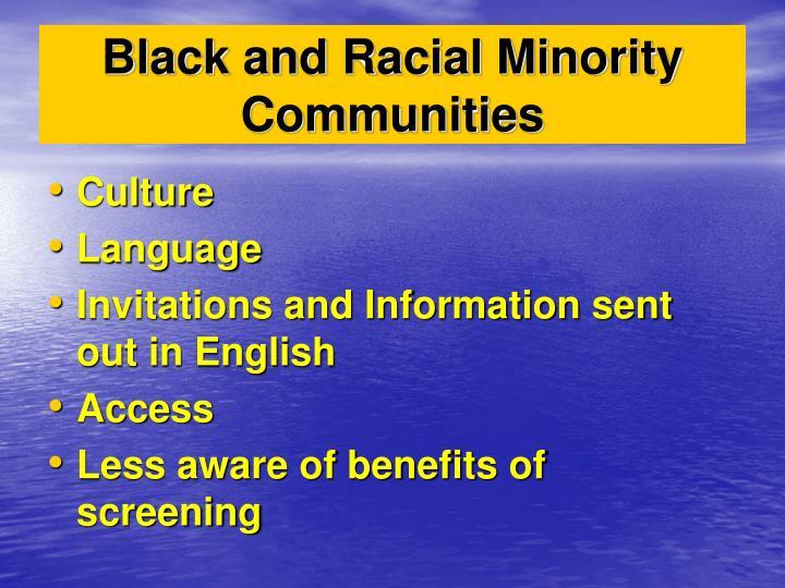 Black and Racial Minority Communities