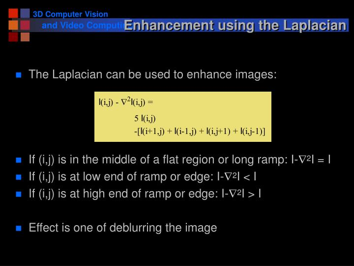 Enhancement using the Laplacian