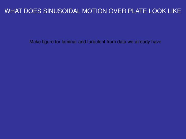 WHAT DOES SINUSOIDAL MOTION OVER PLATE LOOK LIKE