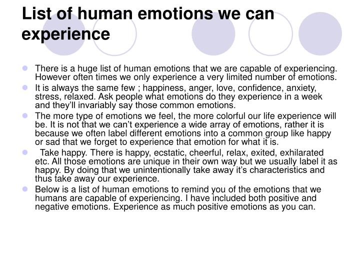 List of human emotions we can experience
