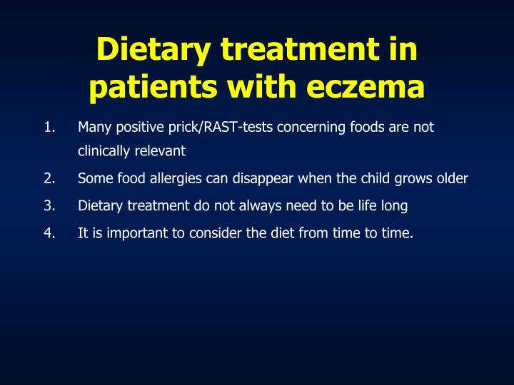 Dietary treatment in patients with eczema