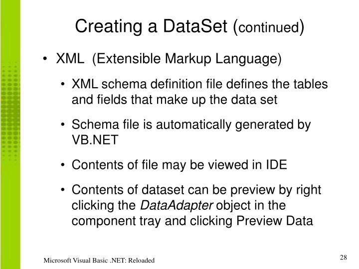 Creating a DataSet (