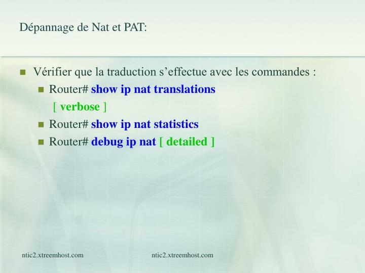 Dépannage de Nat et PAT: