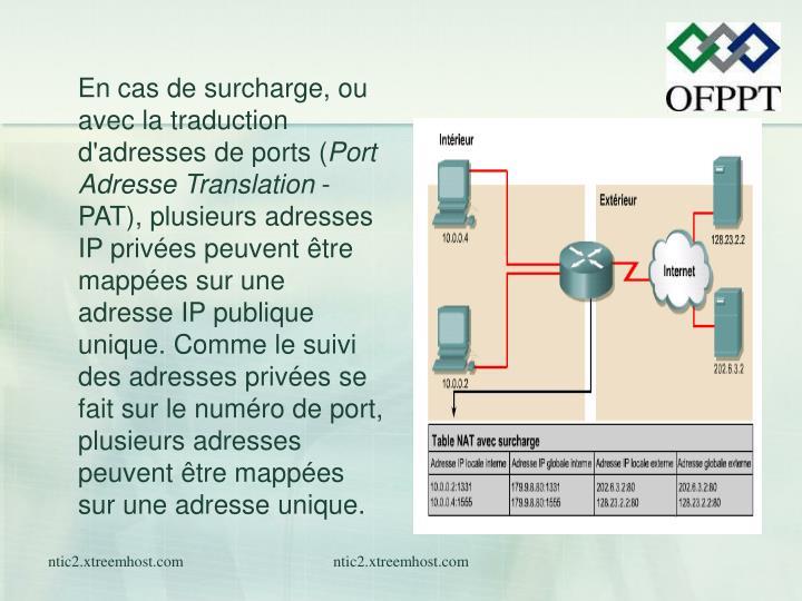 En cas de surcharge, ou avec la traduction d'adresses de ports (