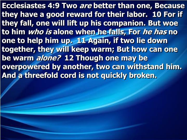 Ecclesiastes 4:9 Two