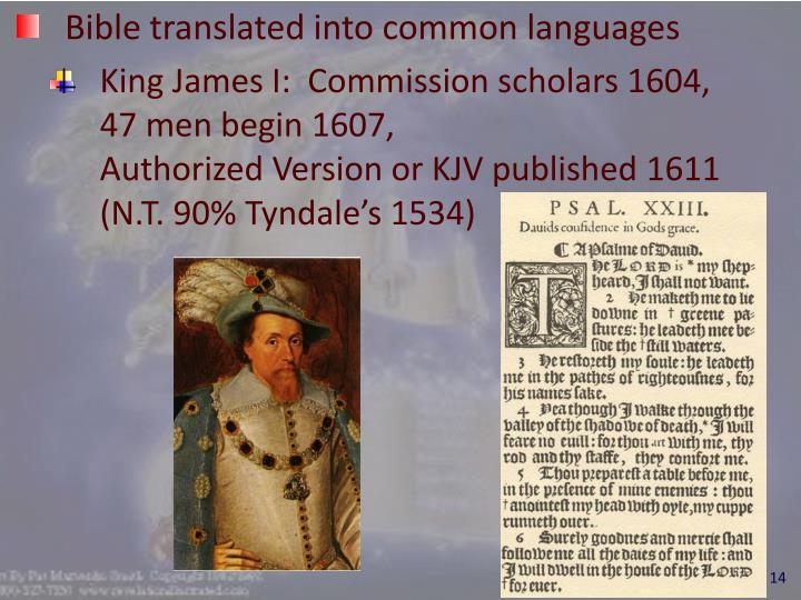Bible translated into common languages