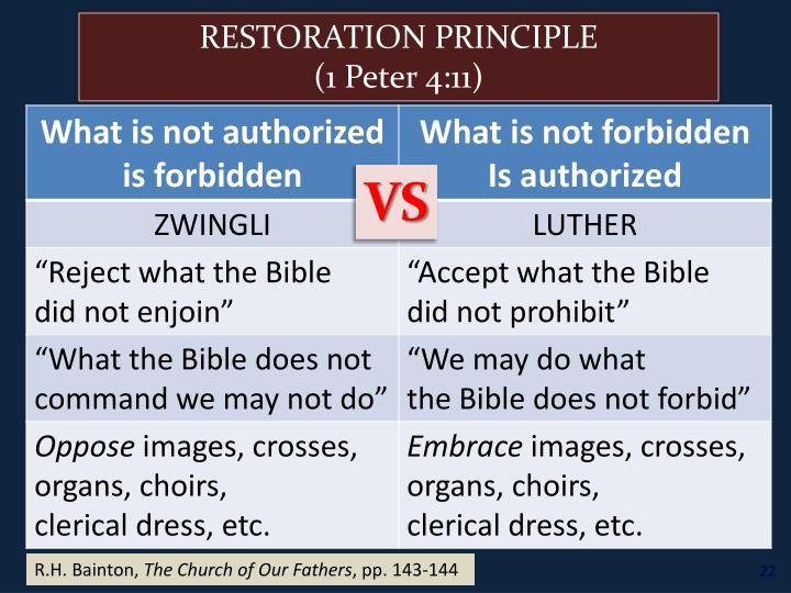 RESTORATION PRINCIPLE