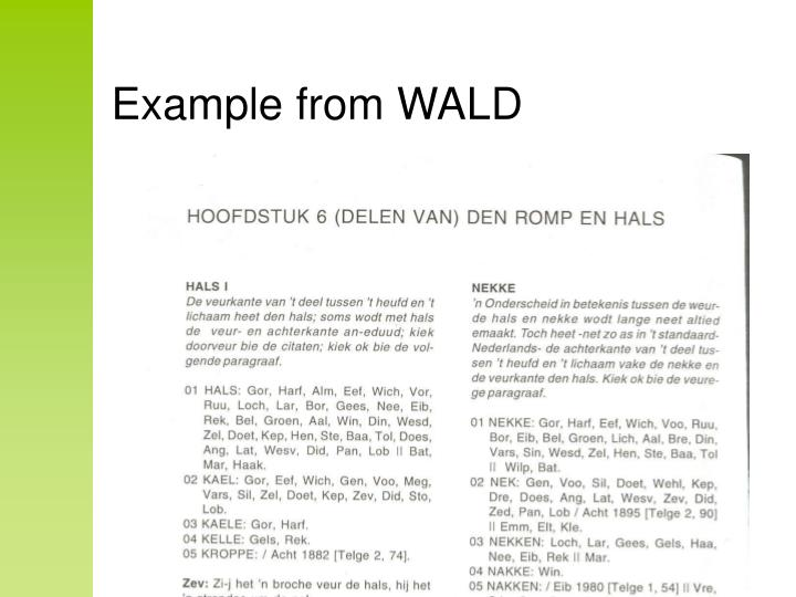 Example from WALD
