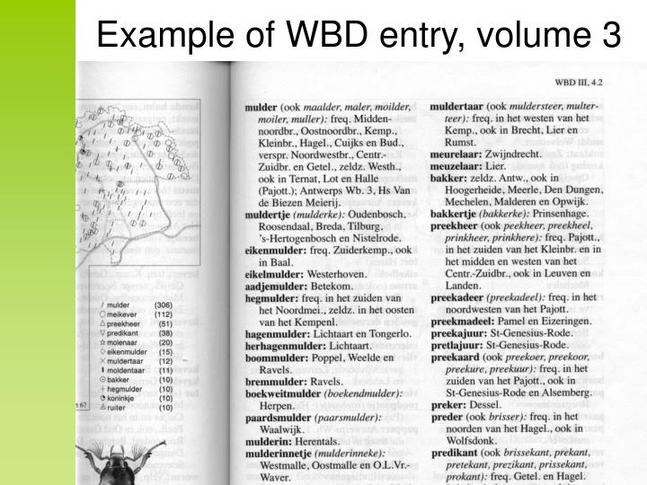 Example of WBD entry, volume 3