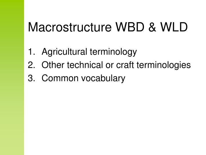 Macrostructure wbd wld