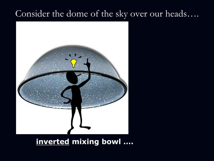 Consider the dome of the sky over our heads….