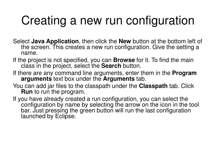 Creating a new run configuration