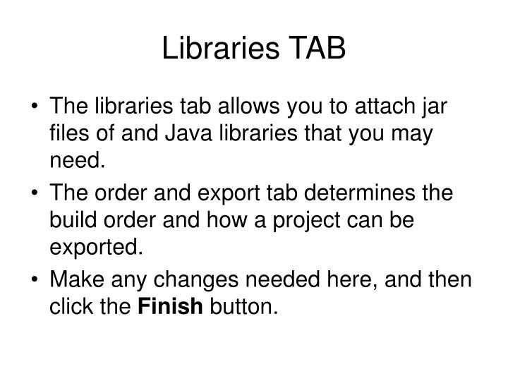 Libraries TAB