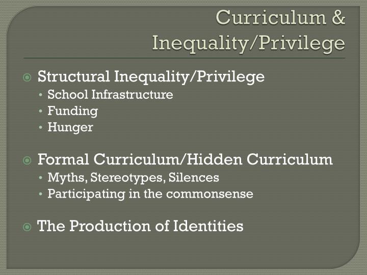 Curriculum & Inequality/Privilege
