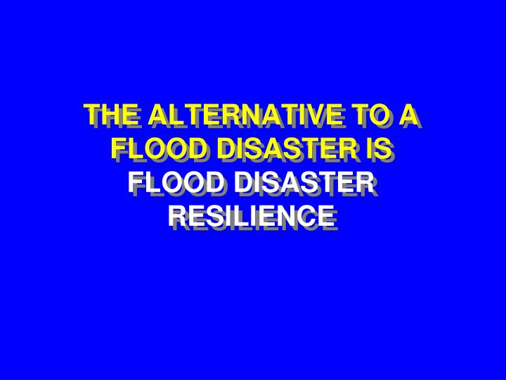 THE ALTERNATIVE TO A FLOOD DISASTER IS
