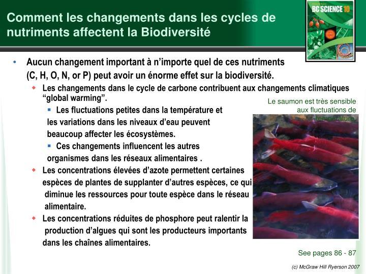 Comment les changements dans les cycles de nutriments affectent la Biodiversité
