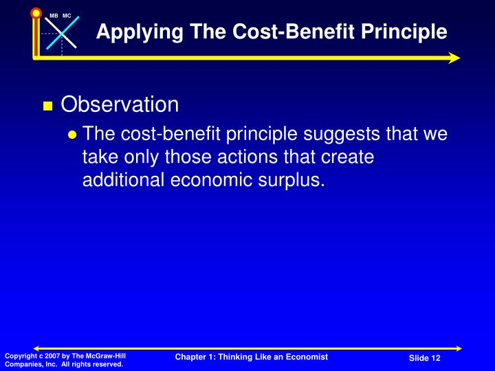 Applying The Cost-Benefit Principle