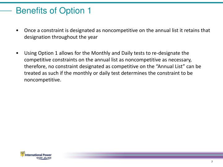 Benefits of Option 1
