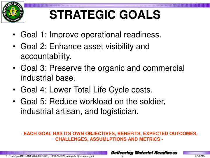 Goal 1: Improve operational readiness.
