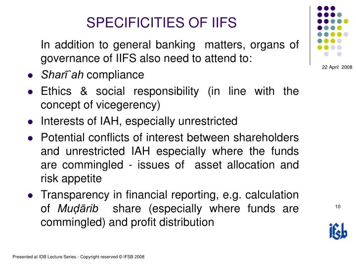 SPECIFICITIES OF IIFS
