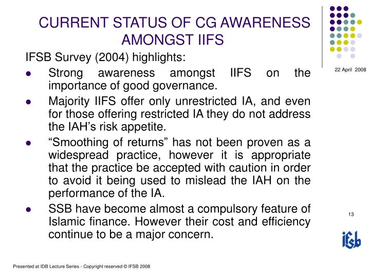 CURRENT STATUS OF CG AWARENESS AMONGST IIFS