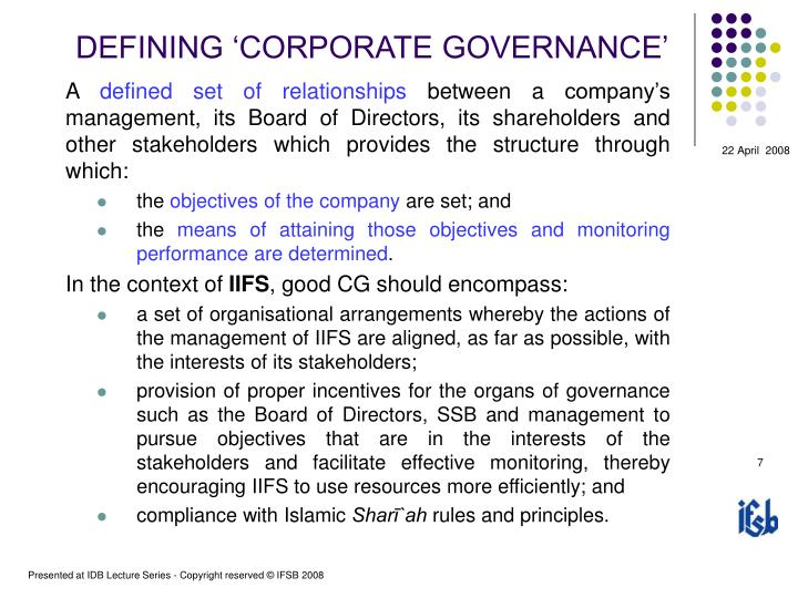 DEFINING 'CORPORATE GOVERNANCE'