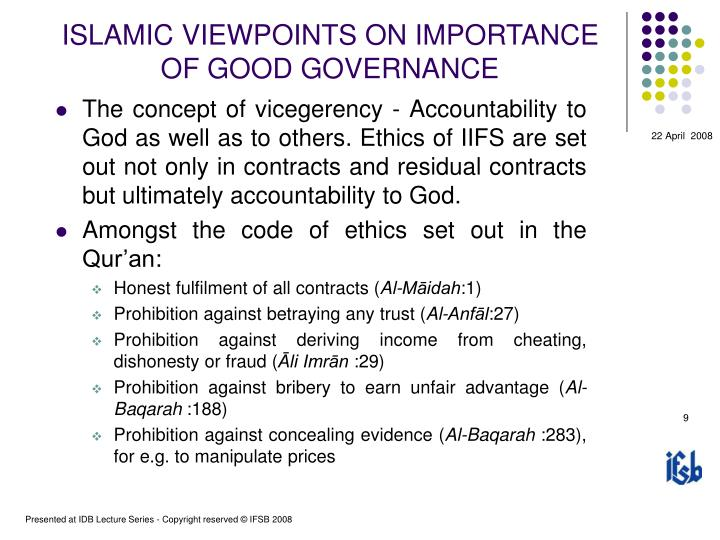ISLAMIC VIEWPOINTS ON IMPORTANCE OF GOOD GOVERNANCE