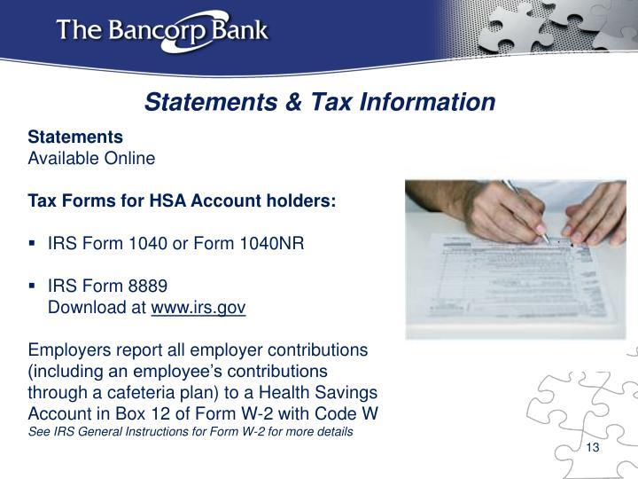 Statements & Tax Information