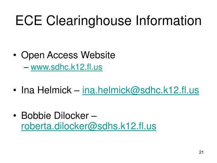 ECE Clearinghouse Information