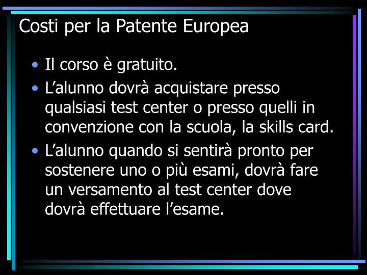 Costi per la Patente Europea