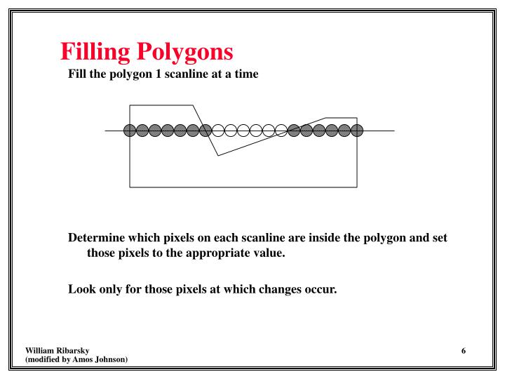 Fill the polygon 1 scanline at a time