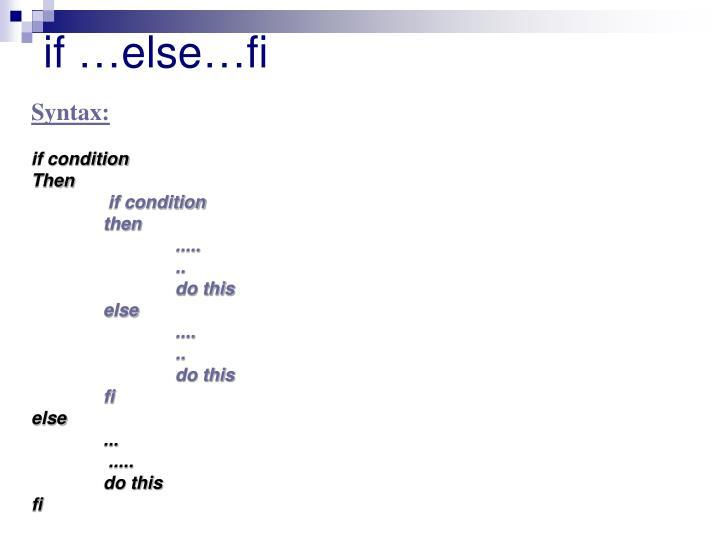 if …else…fi