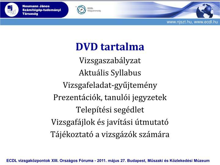 DVD tartalma
