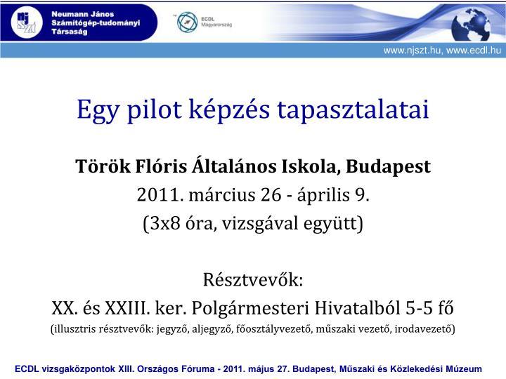 Egy pilot képzés tapasztalatai