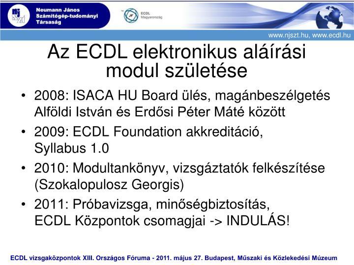 Az ECDL elektronikus aláírási modul születése