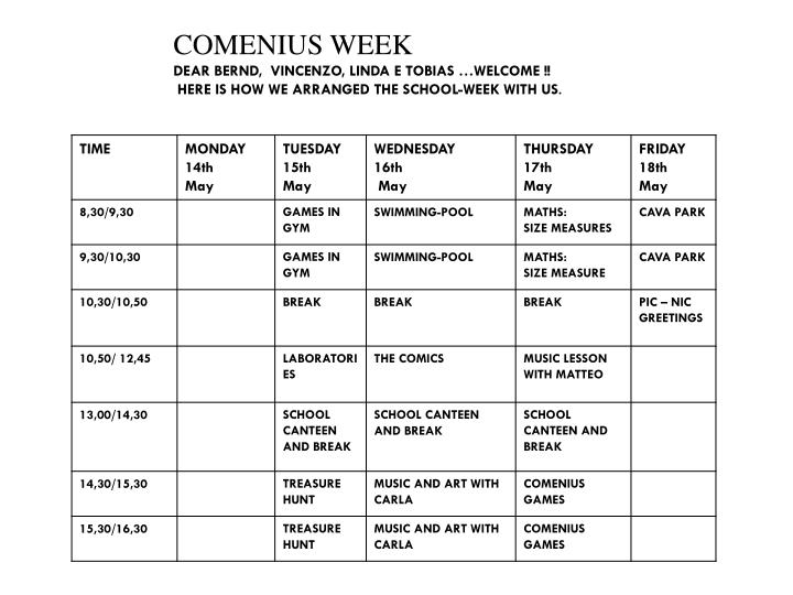 COMENIUS WEEK