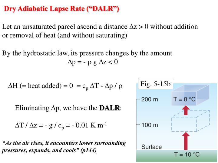 """Dry Adiabatic Lapse Rate (""""DALR"""")"""