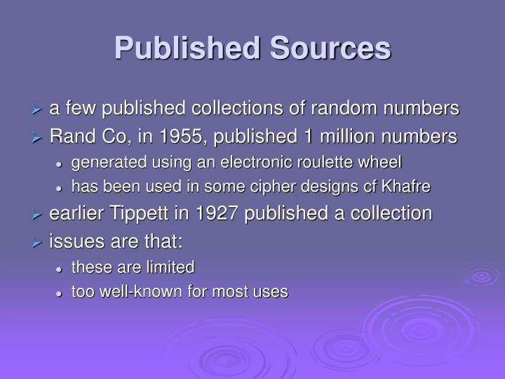 Published Sources