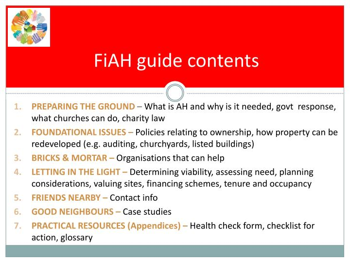 FiAH guide contents