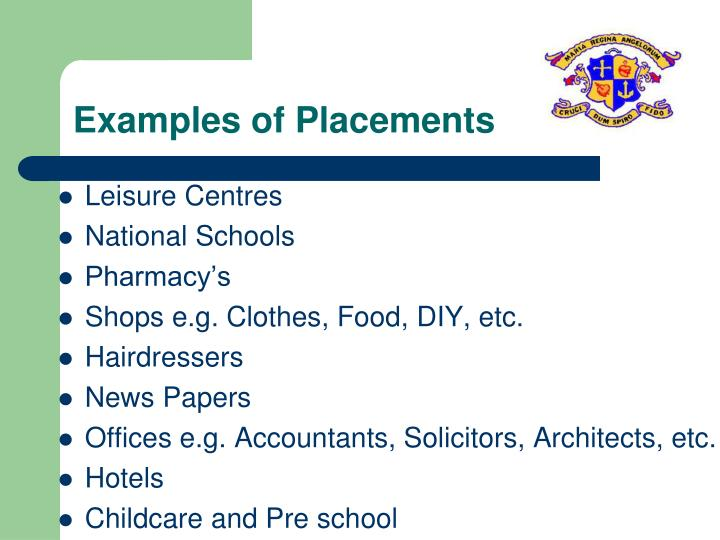 Examples of Placements