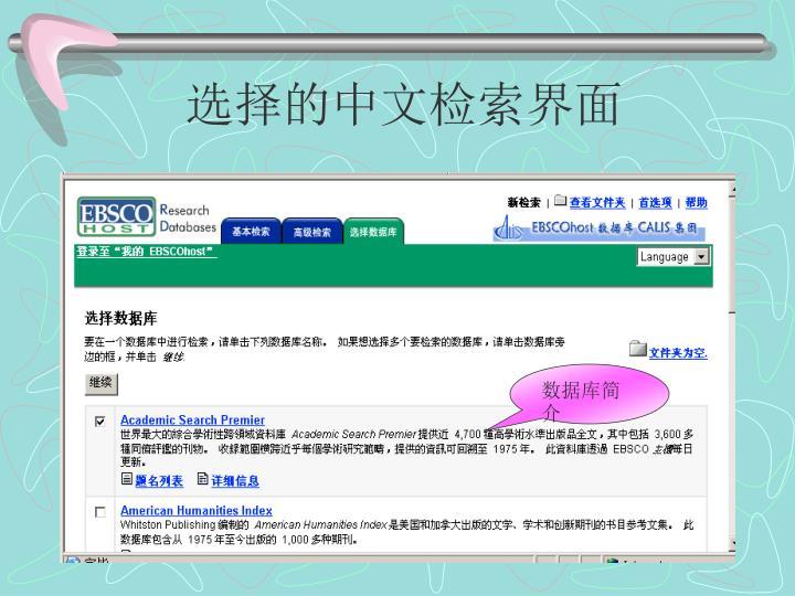 选择的中文检索界面
