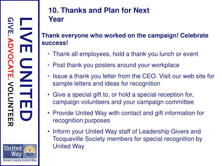 Thank everyone who worked on the campaign! Celebrate success!