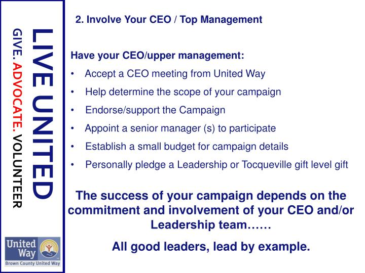 The success of your campaign depends on the commitment and involvement of your CEO and/or Leadership team……
