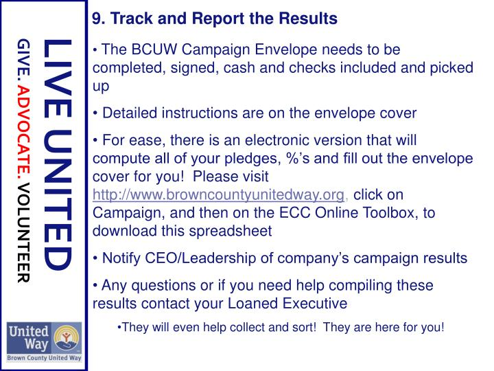9. Track and Report the Results