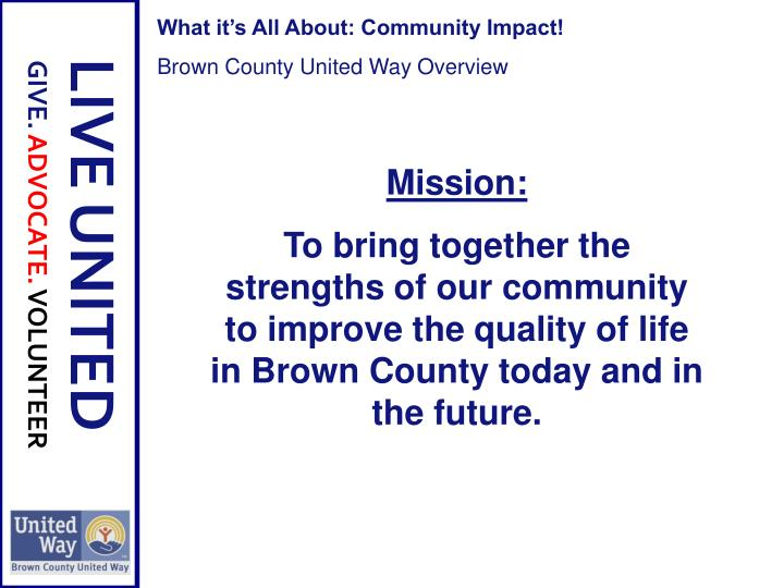 What it's All About: Community Impact!